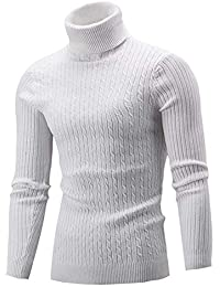 3b6596761cd Cameinic Men s Casual Slim Fit Turtleneck Pullover Sweaters with Twist  Patterned