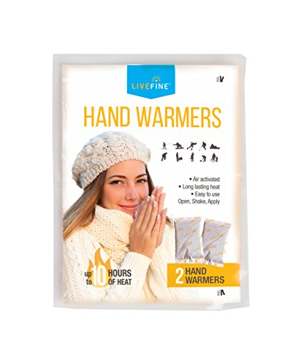 Livefine Hand Warmers – Long Lasting Air Activated Heat Packs – Up to 10 Hours of Warmth for Outdoor Construction, Winter Sports, Football Tailgating & More