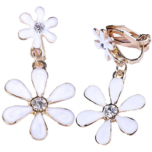 (Women Enamel White Flowers Dangle Clip-on Earrings Rose Gold Plated with 4 Ear Pads for Kids Girls)
