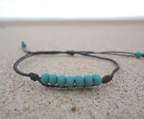 Turquoise Glass Bead Bracelet-Adjustable Waterproof, Wax Coated Bangle-Black Thread-Handmade Anklets with Turquoise Beads
