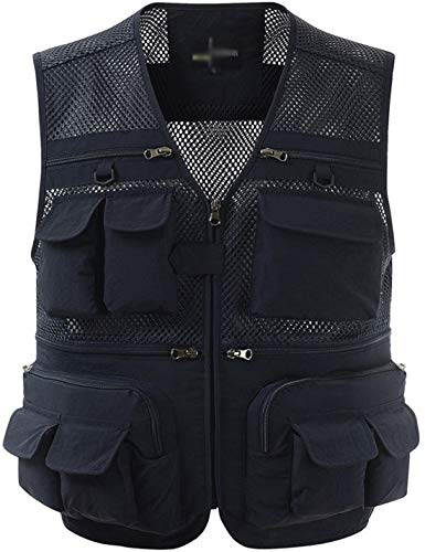 Zhusheng Men's Mesh 16 Pockets Photography Fishing Travel Outdoor Quick Dry Vest Breathable Waistcoat Jackets (XX-Large, Navy Blue)