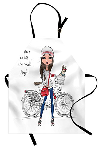 Cute Apron by Lunarable, Hipster Fashion Girl with Bicycle and Cute Dog with Sunglasses Inspirational Quote, Unisex Kitchen Bib Apron with Adjustable Neck for Cooking Baking Gardening, Red Grey - Blues Brothers Sunglasses Quote