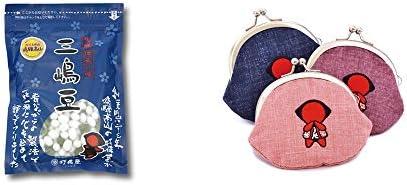 [2点セット] 飛騨 打保屋 駄菓子 三嶋豆(150g)・おねがいさるぼぼ がまぐち【ピンク】