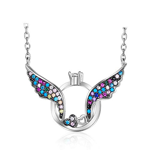 WOFEIYL Ladies Love Necklace S925 Sterling Silver Jewelry Personality Wings Short Chain Joker -