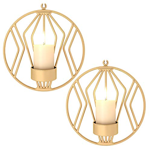 Pasutewel Wall Mounted Candle Holder Set of 2 Tea Light Candle Sconces Metal Wall Decor for Home Living Room Wedding Events (Gold) (Wall Mounted Candle)