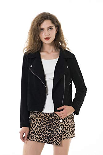 Apperloth Women's Long Sleeve Zipper Closure Motorcycle Biker Faux Suede Brand Jacket Black