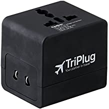 TriPlug All-In-One Travel Adapter Usable in 203 Countries with 2.4A Dual USB Ports, Ideal for iPhone, Smartphones, Tablets, Laptops, Digital Cameras and more