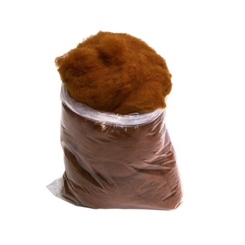 (1LB Bag of 100% Natural Carded Virgin Wool - Walnut Brown )