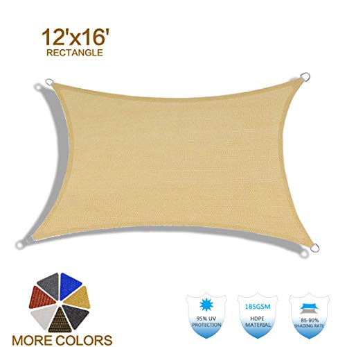 HENG FENG 12'x16' Sand Rectangle Sun Shade Sail UV Block for Patio Deck Yard and Outdoor