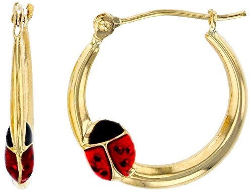 14K Yellow Gold Enamel Ladybug Hoop Earring, 2.50X18mm