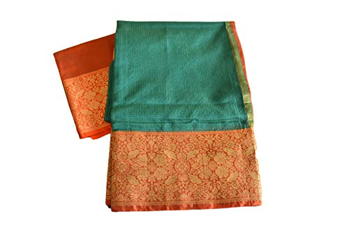 Rainbow Collections Trendy Linen Saree in Gold Zari and Red Color Border and Pallu in Green Color. Saree Fall and Edge is Fully - Pallu Saree