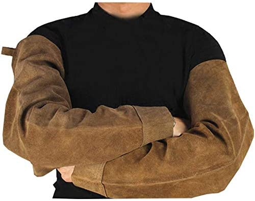 手袋 日常 実用 メンズレザースリーブ耐摩耗性断熱花のしぶき溶接機アーム保護手袋 (Color : Brown, Size : L)
