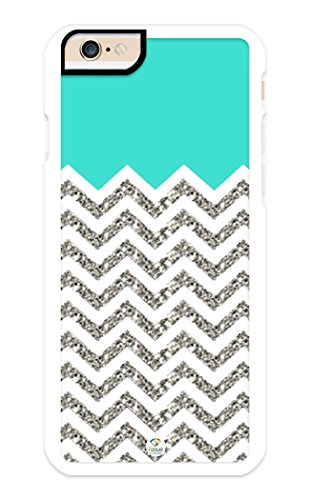 iZERCASE iPhone 6, iPhone 6S Case Chevron Pattern Turquoise Grey White Mixed RUBBER CASE (NOT ACTUAL GLITTER) - Fits iPhone 6 T-Mobile, Verizon, AT&T, Sprint and International