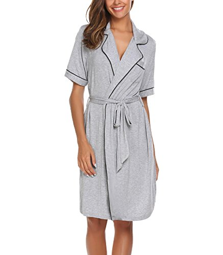 Down Robe (Imposes Turn Down Collar Robes For Women Comfort Short Pajamas Set With Belt Solid Nightwear)