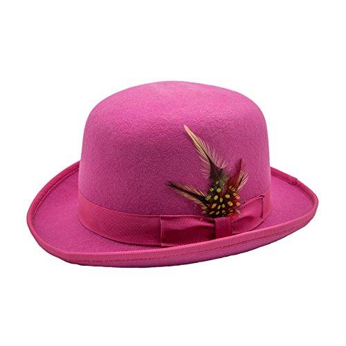 M Ferrecci Men's Fuchsia Wool Classic Lined Derby Hat