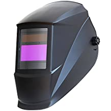 Antra AH7-220-0000 Solar Power Auto Darkening Welding Helmet with AF220i Variable Shade 9-13 with Grinding Feature Extra lens covers Good for TIG MIG MMA