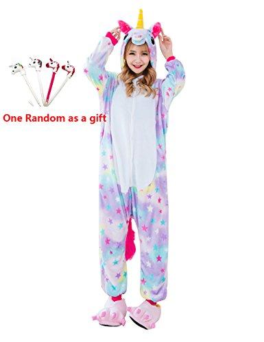 FLEAP Onesie Pajamas Animal Sleepwear Kigurumi Cosplay Cartoon Nightwear Halloween,Star Pegasus Pen,Medium