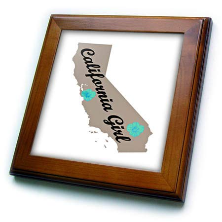 3dRose Lens Art by Florene - State Pride Boy and Girl - Image of California State with Aqua Poppies and California Girl - 8x8 Framed Tile (ft_318947_1) ()