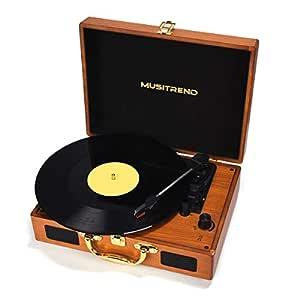Tocadiscos estéreo de 3 velocidades, Maleta Portátil con 2 Altavoces Integrados, Tocadiscos de Vinilo de Estilo Vintage, Función Grabación/MP3 - ...