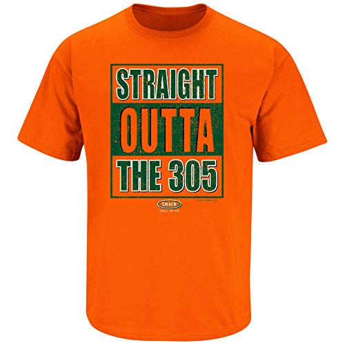 Miami Football Fans. Straight Outta The 305 Orange T Shirt (Sm-5X) (Short Sleeve, 3XL)