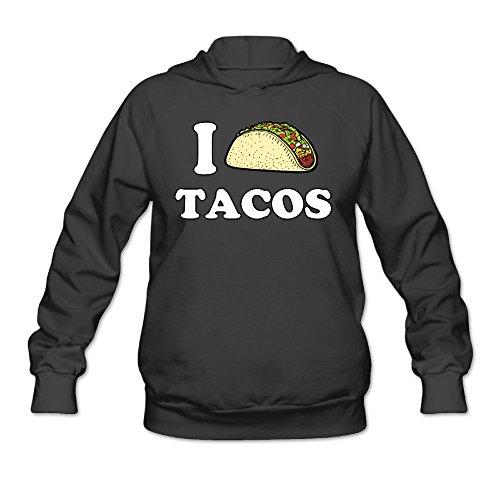 Olasy Women Hooded Sweatshirt I Love Tacos Pullover Cotton/Polyester Hoodies Long Sleeve 7.8oz Medium (Armor Costume Tutorial)