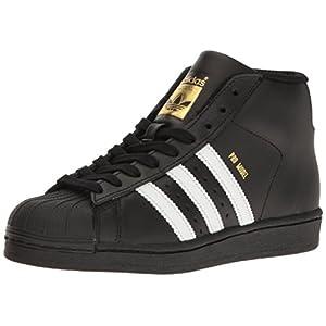 adidas Originals Unisex-Kids Pro Model J Sneaker, Core Black, Ftwr White, Gold Met, 5 M US Big Kid