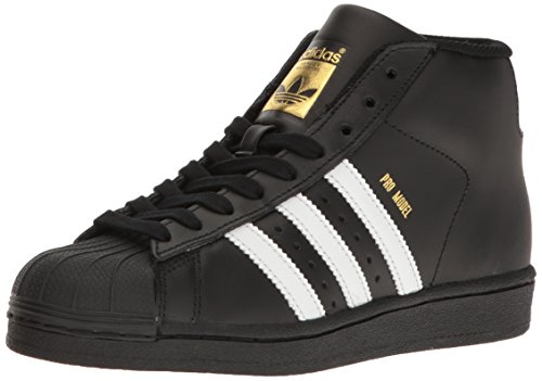 adidas Originals Unisex-Kids Pro Model J Sneaker, Core Black, FTWR White, Gold Met, 7 M US Big Kid (Leather Sneaker Pro)