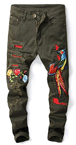 Mens Embroidered Pants - Plaid&Plain Men's Destroyed Distressed Ripped Skinny Jeans Embroidered Jeans Green 34