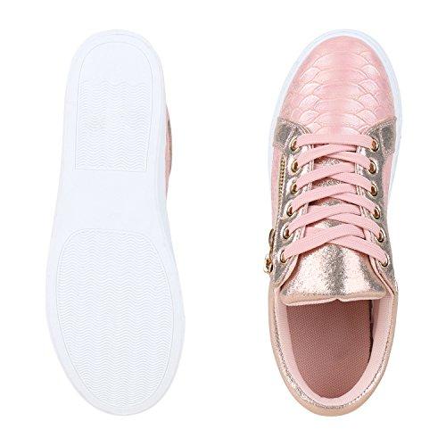 best-boots Damen Herren Low-Top Sneaker Flats Turnschuhe Retro Rose Gold Gold Nuovo