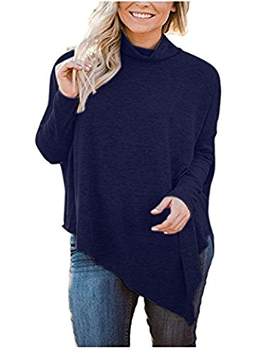 Juniors Turtleneck - Fadalo Women Long Batwing Sleeve Turtleneck Hankerchief Hem Loose Casual Tunic