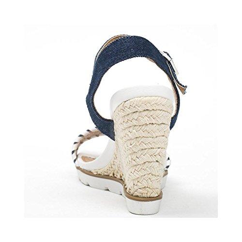 Ideal Shoes, Damen Sandalen Blau