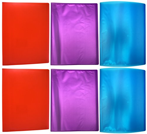 Set of 6 Presentation Books! 3 Assorted Colors - Page Protectors - 9.25