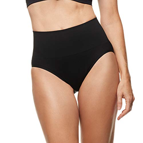 Essentials by Tummy Tank Women's Seamless Smoothing Everyday Shaping Brief, Black M/L