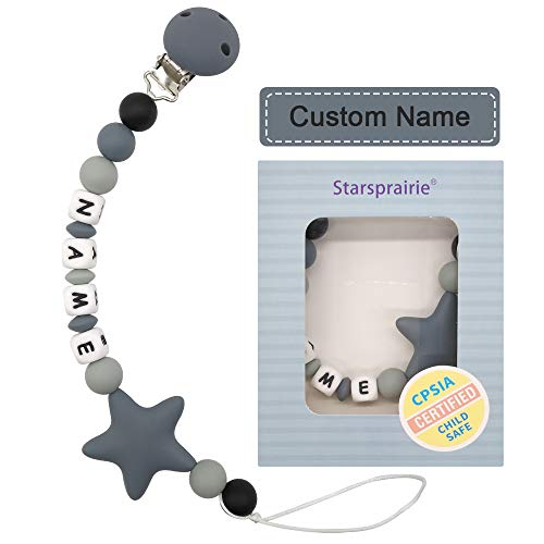 Customized Pacifier Clip Baby Teething Toys Personalized Name Pacifier Clip BPA Free Silicone Beads Binky Holder for Boy Girl Shower Gift (Grey)