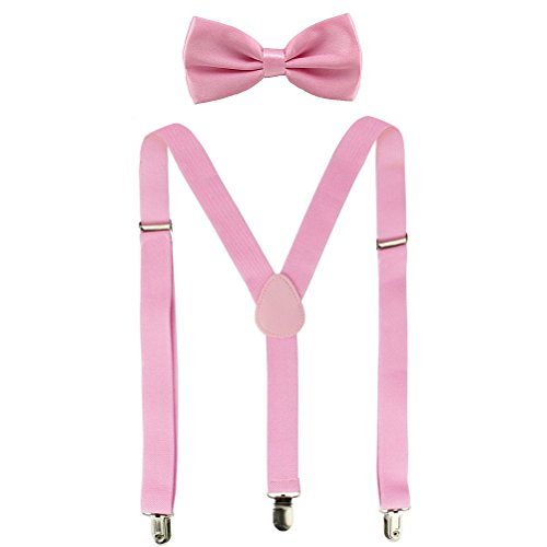 Suspenders For Men,Women Adjustable Suspends Bow Tie Set Solid Color Y Shape (Pink) -