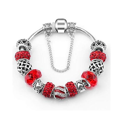 Charm Bangle Inspirational Jewelry Women DIY Jewelry Red Rhinestone Beads Glass Bead Charms Peach Heart Pendant Silver Flower Charm Spacer Fit Pa Bracelet Light Yellow ColorName 23cm