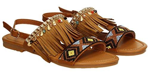 Dara Women's Bead Elastic Bohemia Roman Sandals Summer Beach Sandals Flip Flops Flat Shoes Thongs Tan Brown W8RF5smkUw