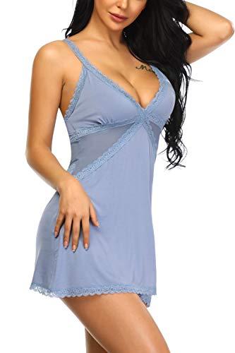 Aranmei Donna Pigiami Sottoveste con Spalline Regolabili, Semplice Camicia da Notte Donna, Babydoll Lingerie Sexy Biancheria da Notte