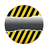 iPrint Polyester Round Tablecloth,Construction,Ripped Sign Working Site Danger Hazard Progress Caution Urban Pattern,Yellow Black Grey,Dining Room Kitchen Picnic Table Cloth Cover Outdoor Indoor