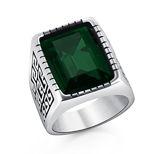 - DALARAN Vintage Great Wall Pattern Embossed Stainless Steel Ring Green Gemstone Band for Friends Size 11