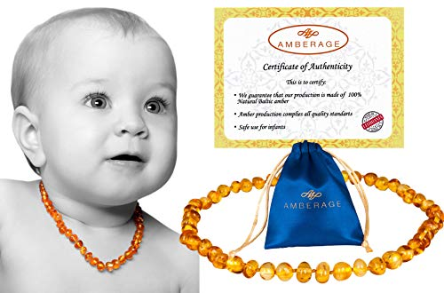 AMBERAGE Baltic Amber Baby Teething Necklaces (Unisex) Anti Flammatory, Drooling & Teething Pain Reduce Properties, Certificated Baroque Beads ( Honey ),Quality Guaranteed