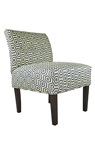MJL Furniture Designs Cott-Ashton Wedgewood Samantha Collection Upholstered Fabric Decorative Side Accent Chair with Button Tufting (Armless Chair Designer Fabric)