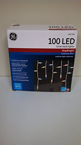 Ge 100 Count Multicolor Led Christmas Icicle Lights