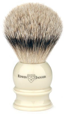 Edwin Jagger Silvertip Handmade English Shaving Brush and Stand in Ivory, Medium by Edwin Jagger
