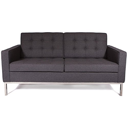Cheap Leisuremod Florence Style Mid Century Modern Tufted Loveseat Sofa In Dark Grey Wool