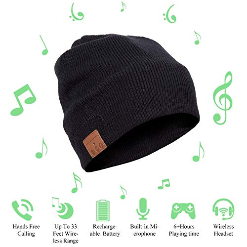 Beanie Headphones Wireless Headset with Bluetooth HD Stereo Speaker Headphone Mic Rechargeable USB for Hands Free Talking, Men Women Teen Boys Girls Unisex