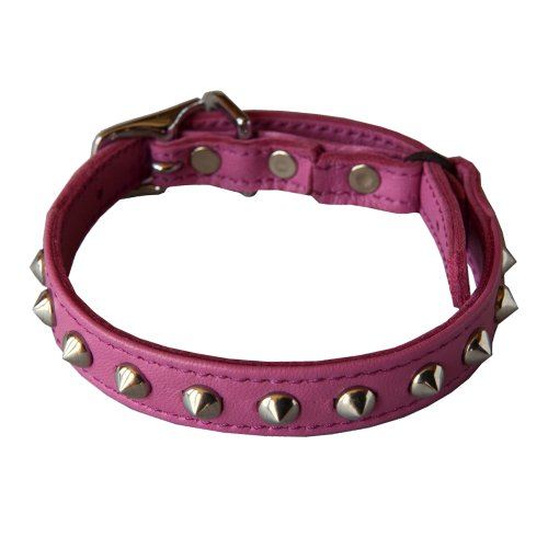 Outlaw Pink Studded Leather Safety Cat Collar -