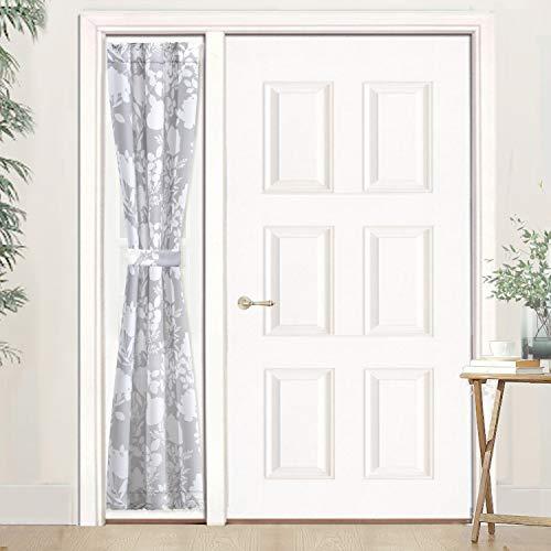 DriftAway Floral Delight Door Curtain Sidelight Curtain Thermal Rod Pocket Room Darkening Privacy Front Door Panel Single with Bonus Adjustable Tieback 25 Inch by72 Inch Plus 1.5 Inch Header Gray (Door Front Drapes)