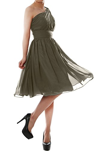 Dress Bridesmaid One Short MACloth Pewter Women Gown Chiffon Shoulder Party Cocktail 6Ypx61PqXw