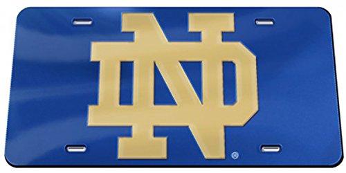 Notre Dame Premium Crystal Mirror License Plate, gold ND logo, blue (Irish Ncaa Cut Precision Fighting)
